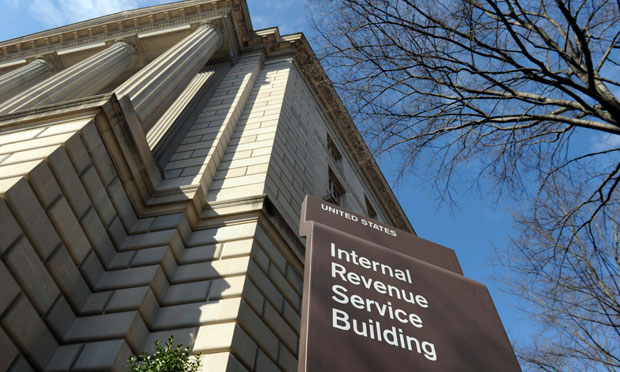 IRS building with sign