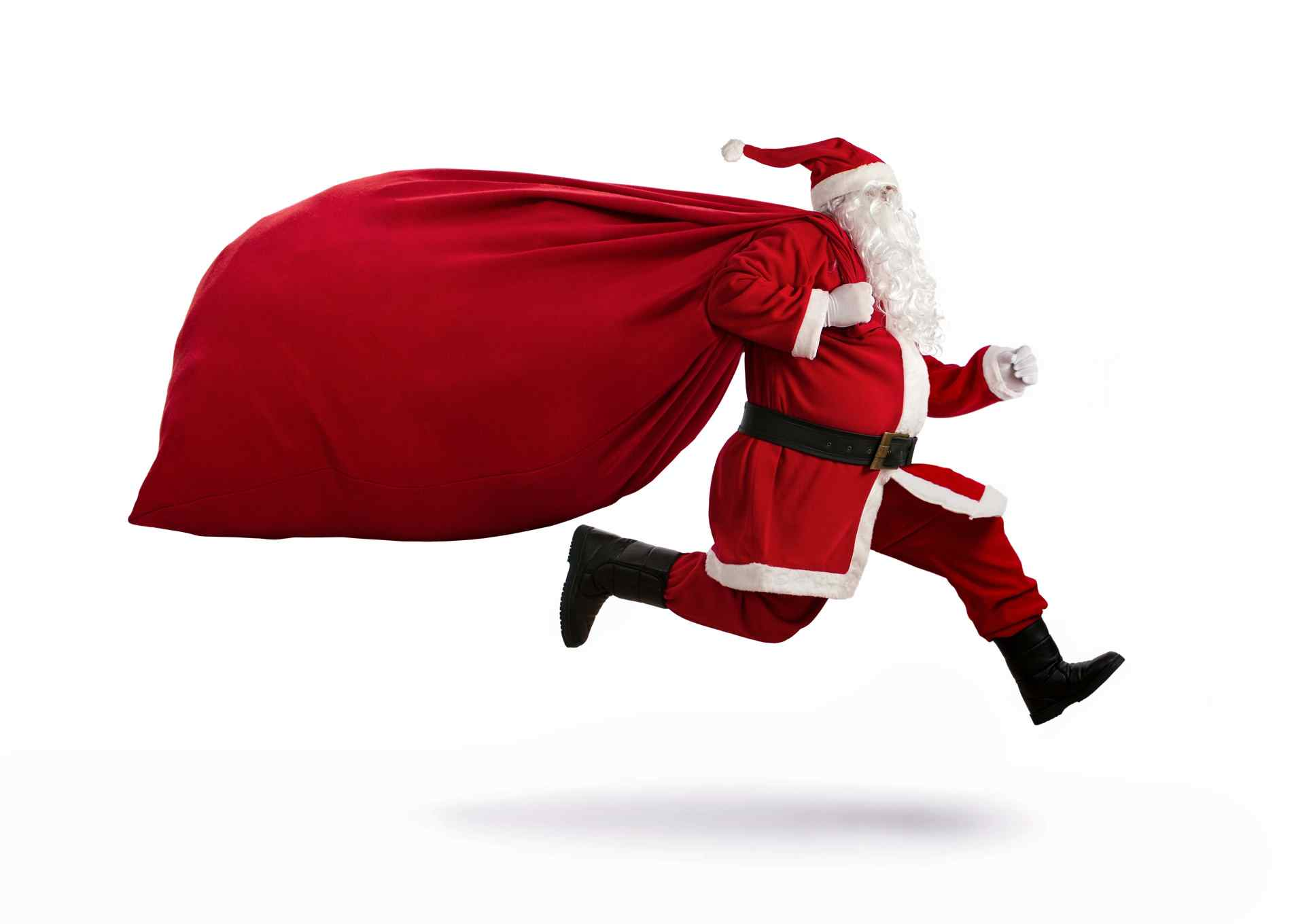 Santa Claus on the run with bag